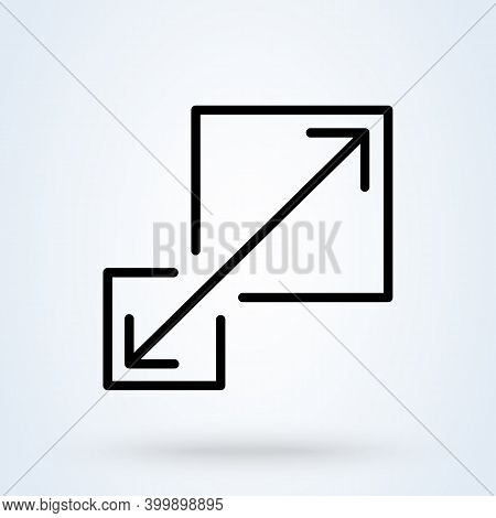 Scalability Or Scalable System Line Sign Icon Or Logo. Scalability Concept. Scalable Or Resize Windo