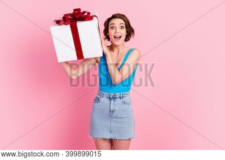 Photo Of Charming Pretty Amazed Young Girl Hold White Surprise Box Red Ribbon Bow Knot Open Mouth Ex