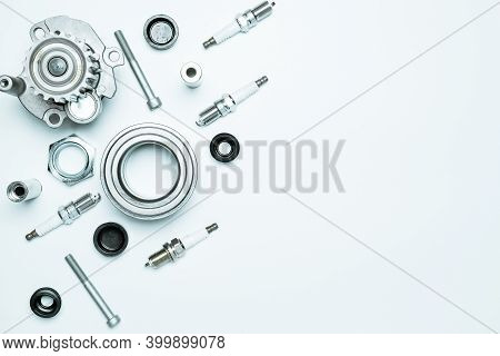 Car Engine. Set Of New Metal Car Part. Auto Motor Mechanic Spare Or Automotive Piece Isolated On Whi