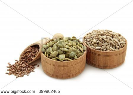 Healthy Superfood: Sesame, Pumpkin Seeds, Sunflower Seeds, Flax Seeds And Chia Isolated On White. To