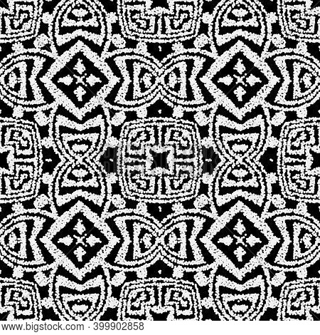 Textured Black And White Seamless Pattern. Greek Ornamental Tribal Ethnic Style Vector Background. S