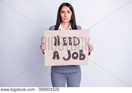 Photo Frustrated Woman Agent Economist Company Staff Loose Job Hold Paper Card Text Need Work Last H