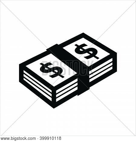 Banknote American Dollar Cash Icon Isolated On White Background. Banknote Stacked With Dollar Icon.