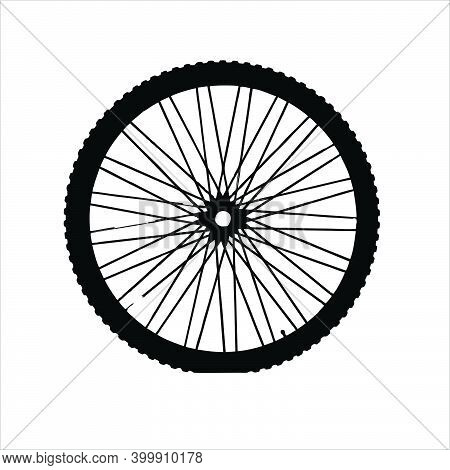 Symbol Of A Wheel And Spokes Of A Motorcycle On A White Background.