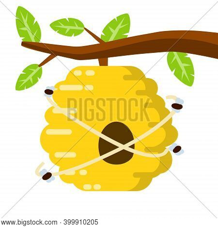 Hive. Yellow Beehive. House Of Wasp And Insect On Tree. Element Of Nature And Forests. Branch With L