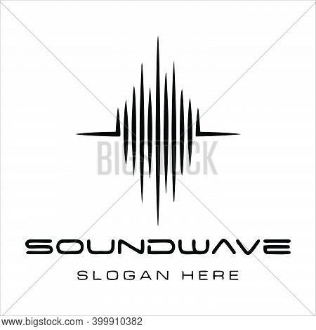 Sound Wave And Radio Flat Line Icon Set. Monochrome Simple Sound Wave On White Background. Editable