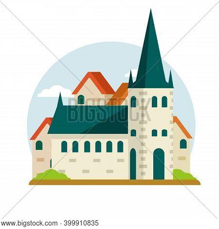 Estonian Tourist Attraction In Tallinn. St. Olaf Church. Old Historical European City. Christian Tem