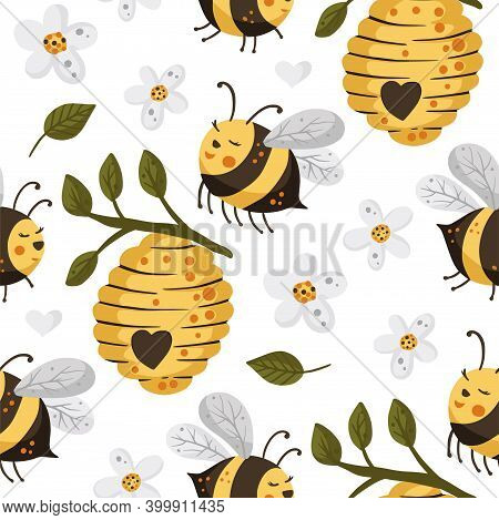 Bee With Flower Seamless Pattern. Honey Beehive Vector. Cute Cartoon Yellow Bee Illustration.