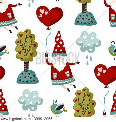 Seamless Gnome Vector Pattern. Cute Valentines Hand Drawn Little Gnomes Illustration With Cloud And