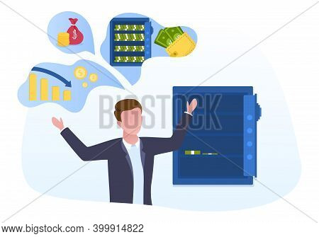 The Poor Man Standing Near An Open Empty Safe With Few Dollars Inside. Concept Of Bankruptcy And Eco