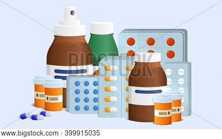 Different Meds In Various Packages. Pills, Capsules Blisters And Glass Bottles With Liquid Medicine.