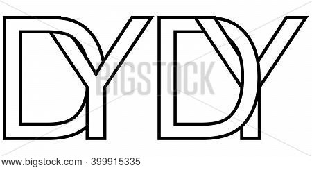 Logo Yd Dy Icon Sign Two Interlaced Letters Y D, Vector Logo Yd Dy First Capital Letters Pattern Alp