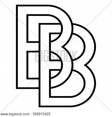 Logo Sign Bb And 2 B Icon Sign Two Interlaced Letters B Vector Logo Bb, First Capital Letters Patter