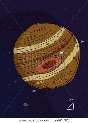 Júpiter y las cuatro lunas