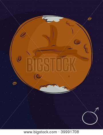 Planet Mars with its moons Phobos and Deimos poster