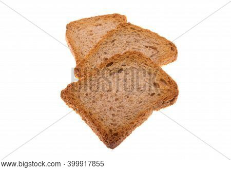 Croutons Toast Baked Isolated On White Background