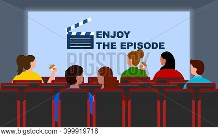 Experience Of Watching Movie In Cinema With People. Spectators Eating Food And Drinking And Having F