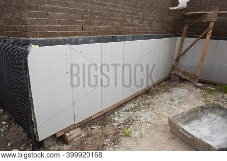 Foundation And Basement Thermal Polystyrene Insulation: Rigid Eps Foam  Boards Are Installed Before