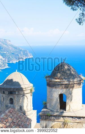 Belltowers With The Sea In Ravello Village, Details Of Amalfi Coast Of Italy