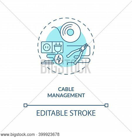 Cable Management Concept Icon. Control Room Ergonomics Idea Thin Line Illustration. Organizing Multi
