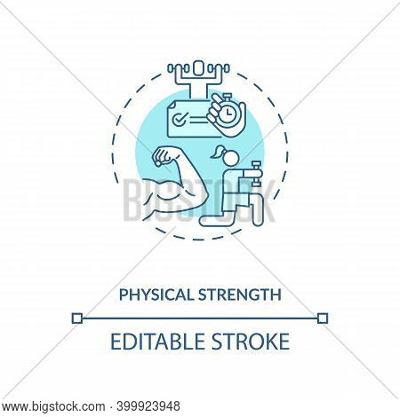 Physical Strength Concept Icon. Human Factor In Ergonomics Idea Thin Line Illustration. Muscle Stren