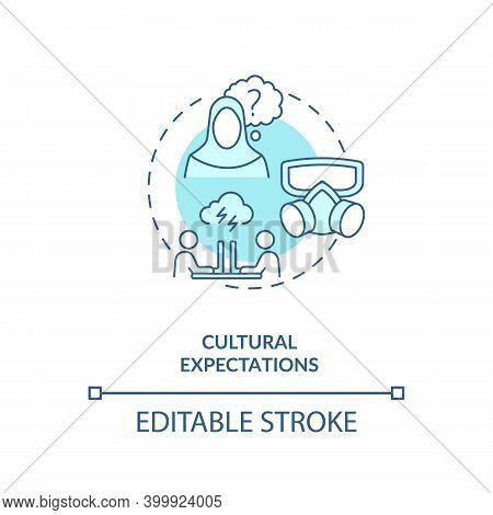 Cultural Expectations Concept Icon. Human Factor In Ergonomics Idea Thin Line Illustration. Multilin