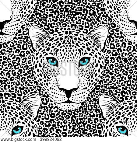 Seamless Pattern With Leopard Muzzle And Leopard Fur.