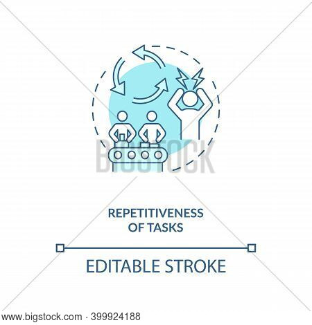 Tasks Repetitiveness Concept Icon. Ergonomic Stressor Idea Thin Line Illustration. Work Processes. R