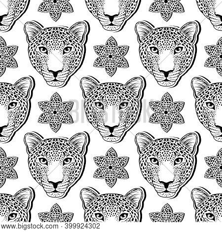 Seamless Pattern With Leopard Muzzle And Flower On White Background.