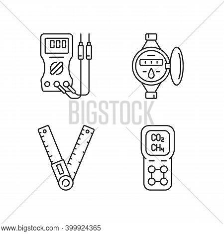 Measurement Tools Linear Icons Set. Ammeter. Water Meter. Ruler. Gas Detector. Voltmeter, Ohmmeter.