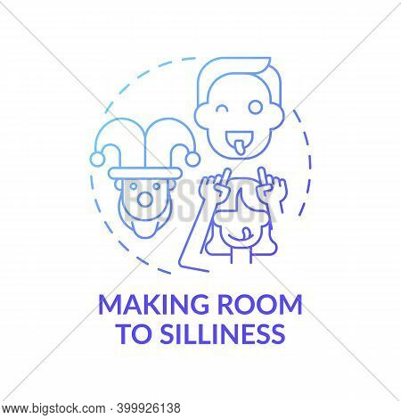 Making Room To Silliness Blue Gradient Concept Icon. Parent Play With Kids. Childcare, Family. Early