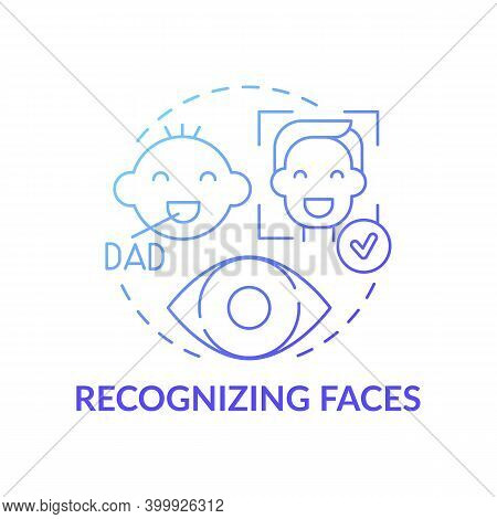 Recognizing Faces Blue Gradient Concept Icon. Baby Look At Father. Development Milestone. Early Chil