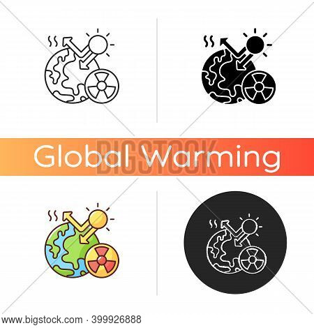 Radiative Forcing Icon. Earth And Energy Radiated Back To Space. Greenhouse Effect On Planets. Dange