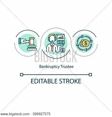 Bankruptcy Trustee Concept Icon. Distributing Debtor Assets To Creditors Idea Thin Line Illustration