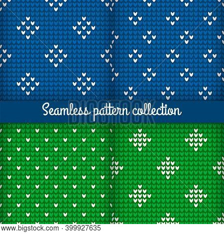 Collection Of Blue And Green Knitting Seamless Patterns With Simple Ornament For Textile Design. Sav