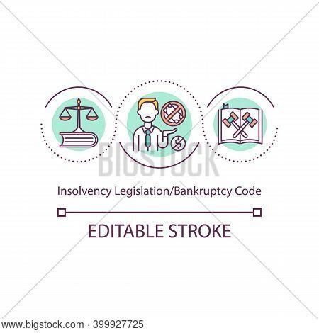 Insolvency Legislation Concept Icon. Bankruptcy Code Idea Thin Line Illustration. Legislative Framew