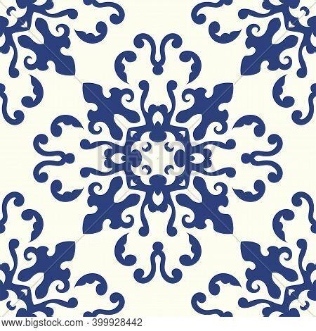 Portuguese Azulejo Tile Texture. Blue And White Gorgeous Seamless Patterns.