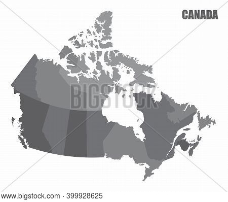 The Canada Provinces Isolated Map In Gray Tones
