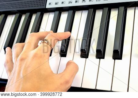 Fingers Play Chords On Synthesizer Keys Piano Playing Pianist Music.