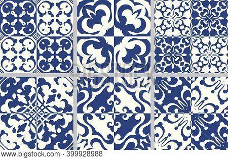 Set Of Indigo Blue Flower Azulejos Lisbon Patterns. Floor Tile Oriental Spain Collection Seamless Te