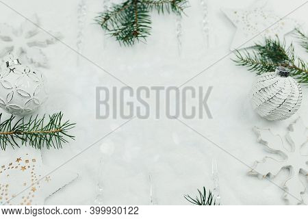 White Christmas Decor And Branches Of Fir On Snow, Christmas Card, Holiday Time, White Christmas Bac