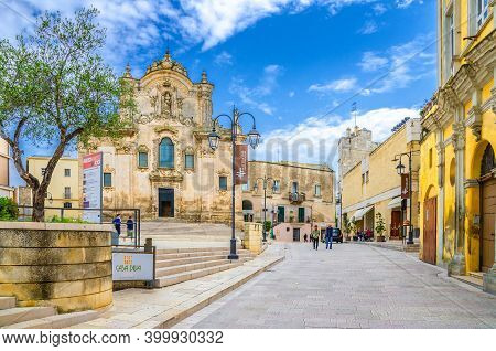 Matera, Italy - May 6, 2018: Saint Francis Of Assisi Catholic Church On Piazza San Francesco In Mate