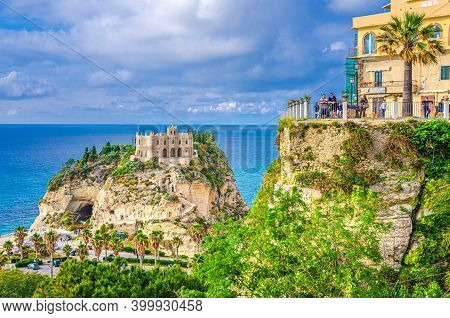 Tropea, Italy - May 8, 2018: People Tourists On Observation Deck View Platform Belvedere Piazza Del