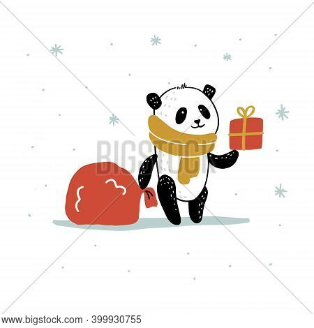 New Year Card With A Panda In A Scarf With A Sack Of Santa Claus And A Gift. Vector Isolated Illustr