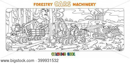 Forestry Machinery Cars With Eyes Coloring Book