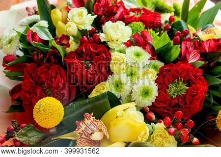 A Large Bouquet Of Flowers For The Holiday Red White Roses Chrysanthemum Green Marigold Flowers