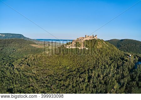 Drone aerial view of castle Szigliget medieval fortress ruin in Balaton Uplands
