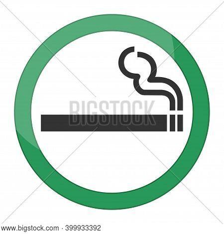 Green Symbol Of Smoking Zone. Icon Pictogram Granted Smoke. Smoking Allowed Sign. Vector Illustratio
