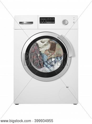 Major Appliance - The Washing Machine Washing Of Clothes On A White Background