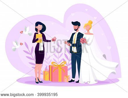 Female Event Manager Presenting Event Plan For Celebration. Concept Of Celebration Or Meeting Organi